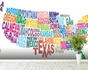 USA Word Cloud Map wallpaper mural in-room view