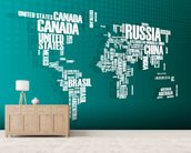 Turquoise Word Cloud Map mural wallpaper living room preview