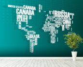 Turquoise Word Cloud Map mural wallpaper in-room view
