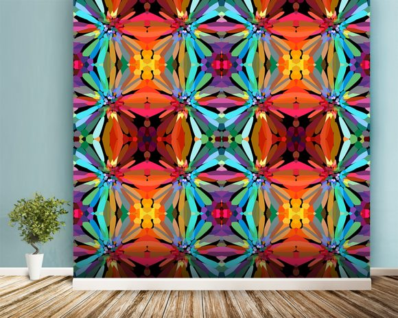 Groovy wall mural room setting