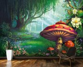 Enchanted Forest mural wallpaper kitchen preview