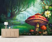 Enchanted Forest mural wallpaper living room preview