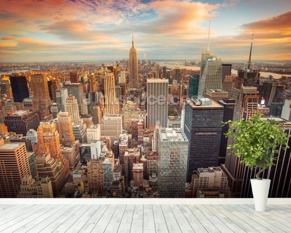 Midtown Manhattan wall mural room setting