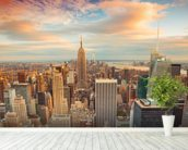 Midtown Manhattan wall mural in-room view