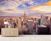 Midtown Manhattan Sunset wallpaper mural living room preview