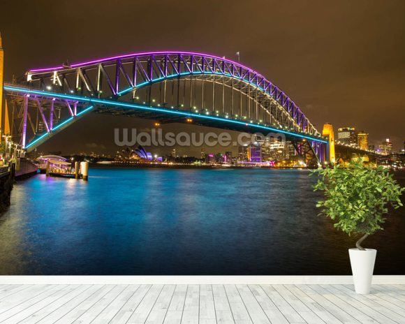 Sydney Harbour Bridge at Night wallpaper mural room setting