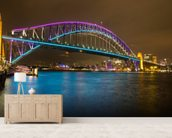 Sydney Harbour Bridge at Night wallpaper mural living room preview