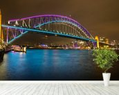 Sydney Harbour Bridge at Night wallpaper mural in-room view