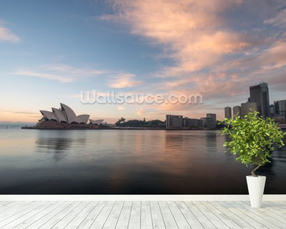 Sunrise over Sydney Opera House wallpaper mural room setting