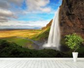 Seljalandsfoss Waterfall, Iceland mural wallpaper in-room view