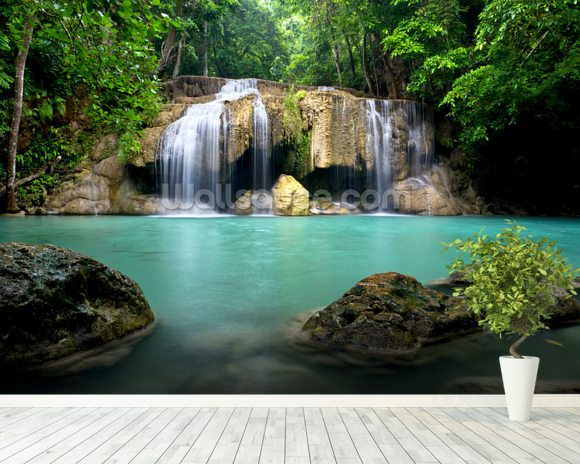 Waterfall in Kanchanaburi, Thailand mural wallpaper room setting