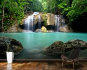Waterfall in Kanchanaburi, Thailand mural wallpaper kitchen preview