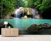 Waterfall in Kanchanaburi, Thailand mural wallpaper living room preview