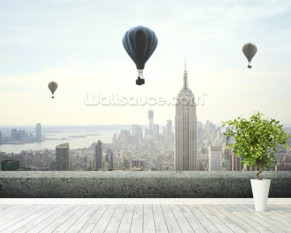 Air balloon on sky mural wallpaper room setting