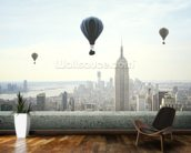 Air balloon on sky mural wallpaper kitchen preview