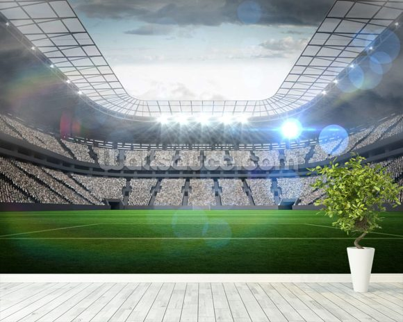 Large football stadium with lights wallpaper mural room setting