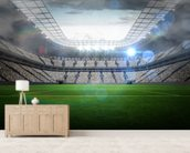 Large football stadium with lights wallpaper mural living room preview