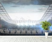 Large football stadium with lights wallpaper mural in-room view