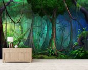 Rainforest mural wallpaper living room preview