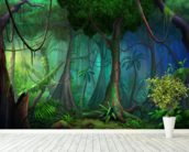 Rainforest mural wallpaper in-room view