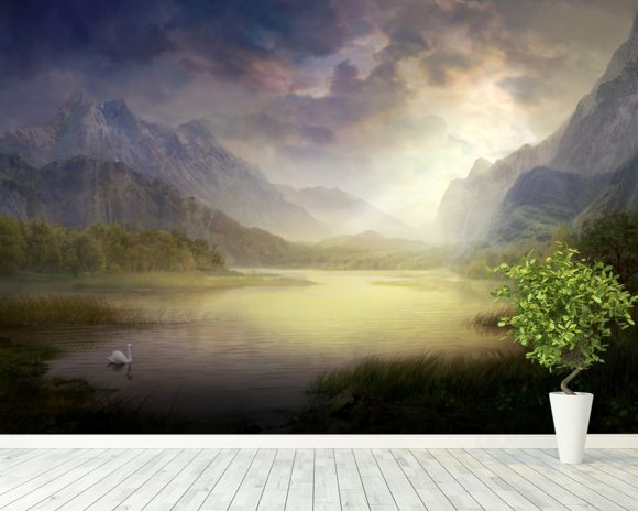 Silent Morning wall mural room setting