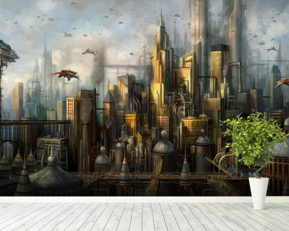 Metropolis wall mural room setting