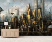 Metropolis wall mural living room preview