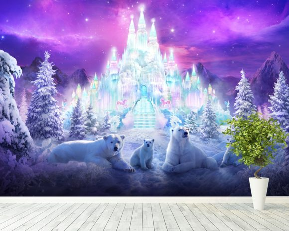 A Winter Wonderland wall mural room setting