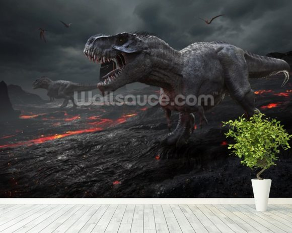 Dinosaurs Fire mural wallpaper room setting