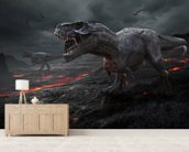 Dinosaurs Fire mural wallpaper living room preview