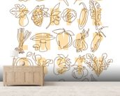 Apple to Zucchini wallpaper mural living room preview