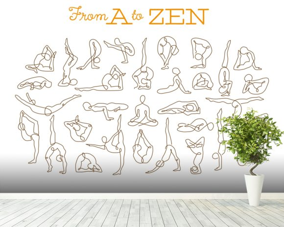 A to Zen mural wallpaper room setting