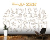 A to Zen mural wallpaper kitchen preview