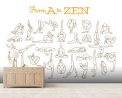 A to Zen mural wallpaper living room preview