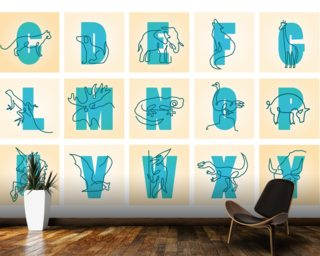 Animal Alphabet Blue Landscape Mural Wall Murals Wallpaper