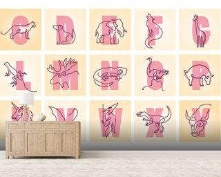 Animal Alphabet Pink Landscape Wall Mural Wall Murals Wallpaper