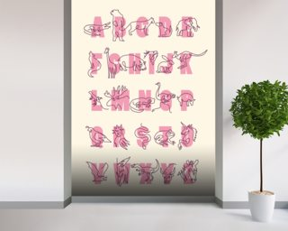 Animal Alphabet Pink Portrait Wall Mural Wall Murals Wallpaper