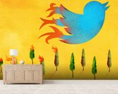 Tweet wallpaper mural living room preview