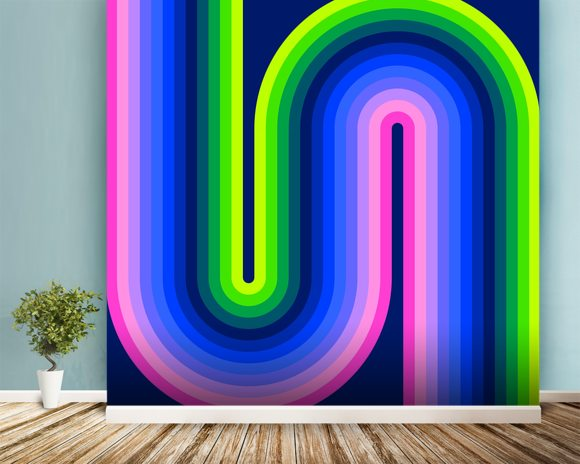 Neon Flow 1 wallpaper mural room setting