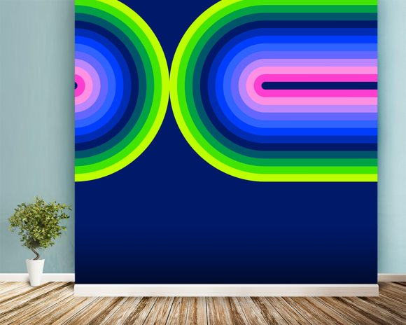 Neon Flow 3 wall mural room setting