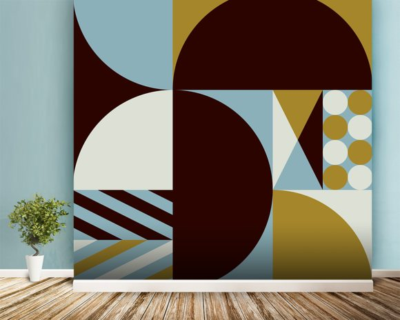Geo mural wallpaper room setting