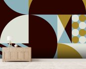 Geo mural wallpaper living room preview