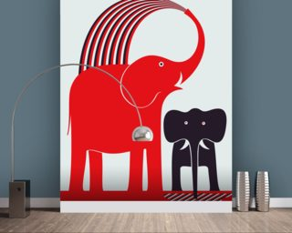 Red Elephant wallpaper mural