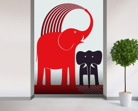 Red Elephant wallpaper mural room setting