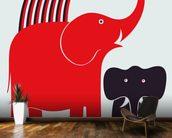 Red Elephant wallpaper mural kitchen preview