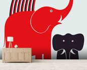Red Elephant wallpaper mural living room preview