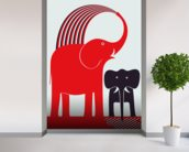 Red Elephant wallpaper mural in-room view