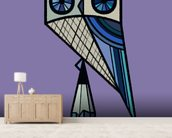 Stay Sharp Purple mural wallpaper living room preview