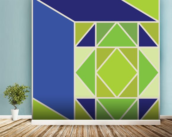Structure Green wall mural room setting