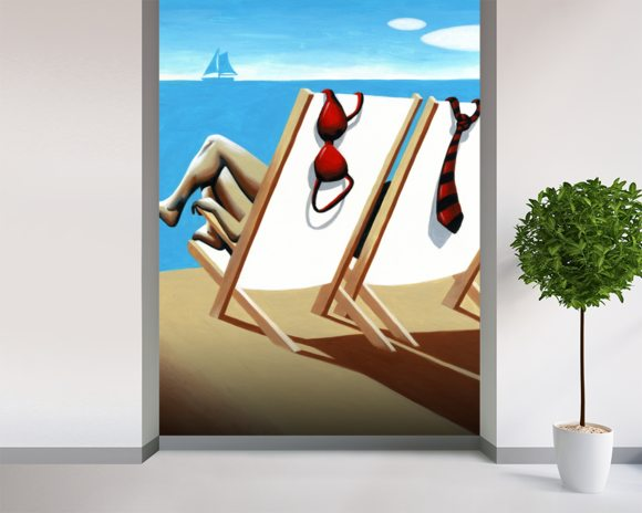 Vacation mural wallpaper room setting